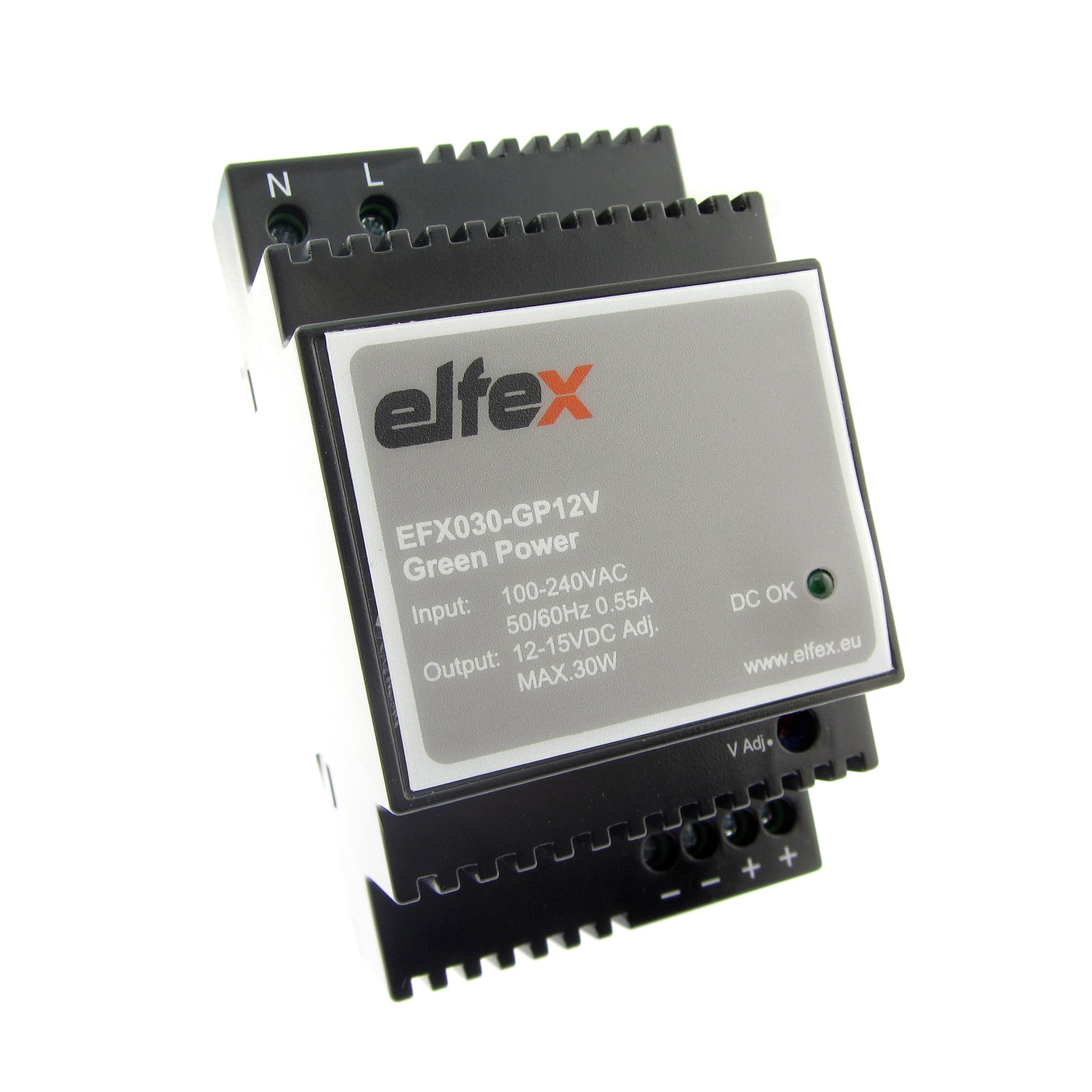 elfex Hutschienen-Netzteil 30W, 12V DC (einstellbar 12V-15V), EFX030-GP12V