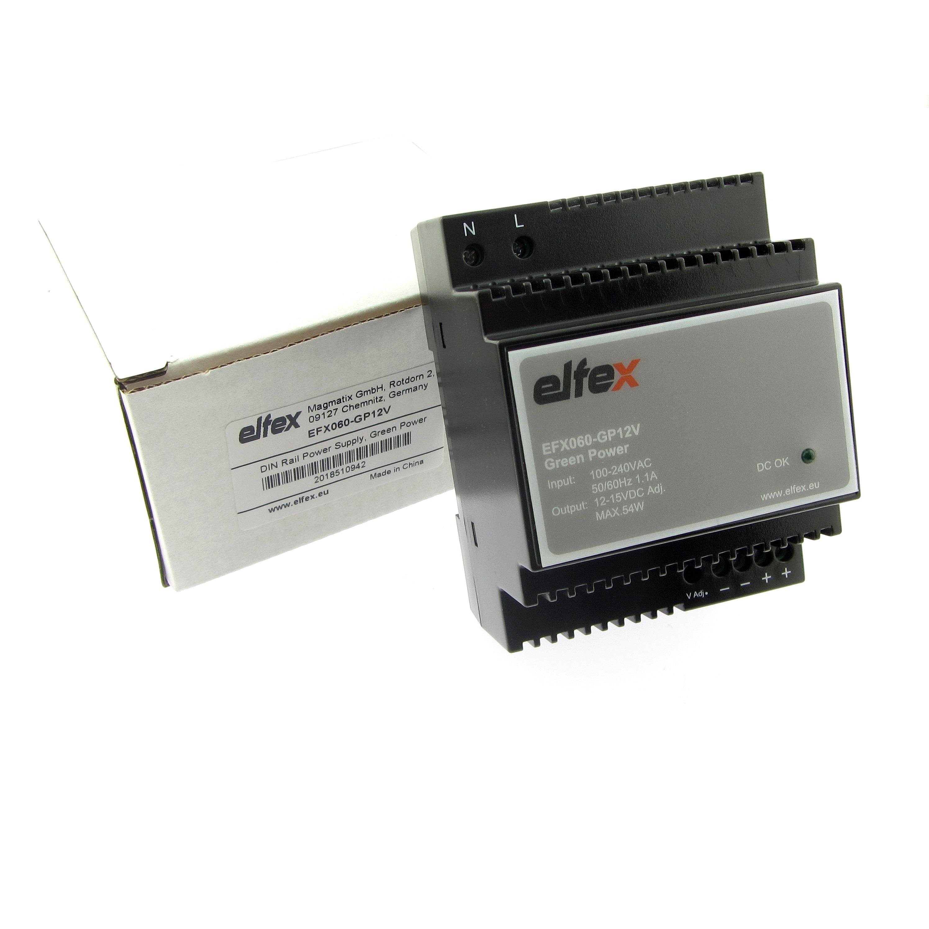 elfex Hutschienen-Netzteil 60W, 10-15V DC einstellbar, EFX060-GP12V